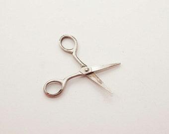 Tiny Vintage Sterling Scissors Charm
