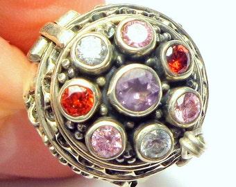 Sz 7.25,Vintage Poison Ring, Multi-stone,Amethyst,Citrine,Garnet &Topaz,Sterling Silver,Medieval Design,Victorian Pill Box or Cremation Ring