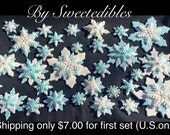 Gumpaste Snowflakes in Assorted Sizes and Style Light Blue and White Frozen Theme