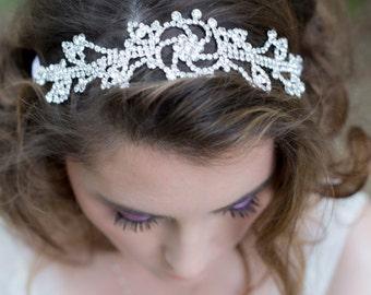 Bridal Headband - Rhinestone Wedding Halo - Crystals and Silk