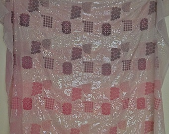 Silk & cotton pink mauve chiffon with sequins yardage material