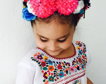 Mexican Embroidered Girls Dress White
