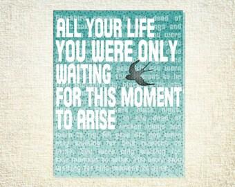 Beatles Lyrics BLACKBIRD 18x24 Poster Motivational - aqua orange or robin's egg blue