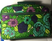 Vintage cloth covered small overnight bag suitcase 1960's blue green colors