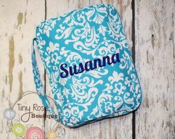 Personalized Bible Case Cover -Monogrammed Aqua Damask Bible Travel Case