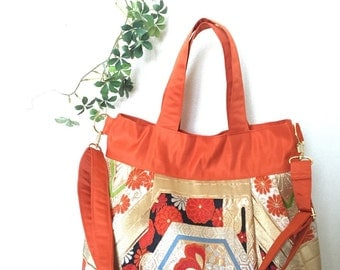 Kimono, Obi, Purse / OR773 Gorgeous Flower Pattern Pleated Tote Bag With Removable Strap