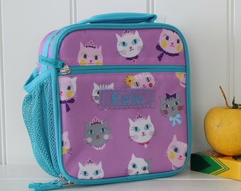 Lunch Bag With Monogram Classic Style Pottery Barn -- Lavender/Aqua Kitty