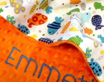 Personalized Baby Blanket, Ocean Fish Baby Blanket with Orange Dot Minky Back, Baby Shower Gift, Stroller Size