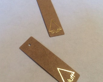"200 Jewelry Cards or hang tags - metallic foil on 13 PT kraft brown stock - tiny size - 1.5""x0.5"" - custom printed"
