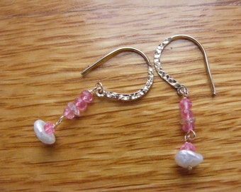 Pink Sapphire and Keishi Pearl Earrings