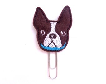 Felt planner clip organizer calendar bookmark paper clip - Boston Terrier face - dark brown felt dog paper clip - planner accessories ECLP