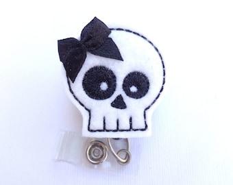 Halloween Badge Reel ID Holder - Skully - white felt skull - Halloween medical staff teacher student nurse badge reel radiology