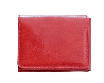 Men's red leather wallet, red trifold wallet - the Casino