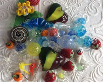 FLAWED SALVAGED GLASS Pendants and Beads for Mosaics , Mixed Media or Altered Art Projects