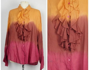 ombre tie dye poet blouse ruffled fall colors long sleeve India cotton boho peasant blouse vintage romantic button up oversize large XL