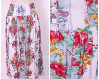 pink and red roses floral print skirt 80s chintz corset waist light blue stripe with pink red purple flowers Avon Fashions small 28 waist