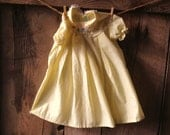 vintage yellow baby dress with puppy embroidery // size 3 to 9 months