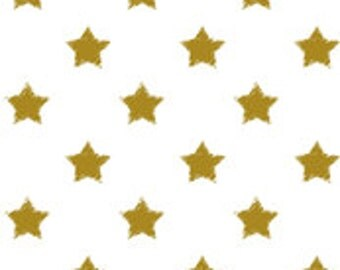Custom fitted crib sheet and changing pad in Gold Stars