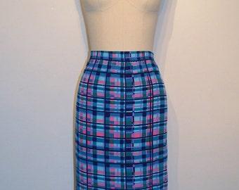 SUMMER HEAT SALE Half Off Clearance Vintage 1970s Skirt - 70s Mod Skirt - Sky Blue and Pink Block Print