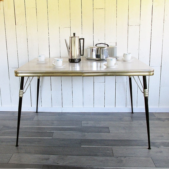 Mid Century Modern Gold & Black Kitchen Table Dinette Table