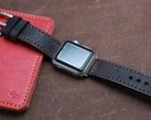 Hand Stitched Leather Apple Watch band in Italian VINTAGE Washing DARK BROWN Espresso
