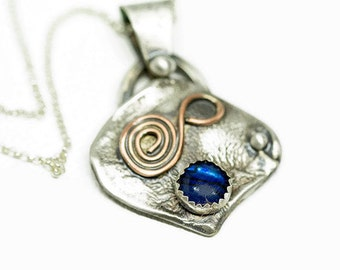 Abalone Shell and Sterling Silver Artisan Pendant Necklace