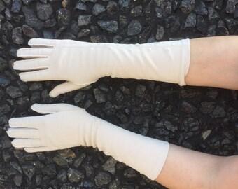 Vintage Taupe Short Gloves - Wrist Length Gloves - Beige XL Gloves -