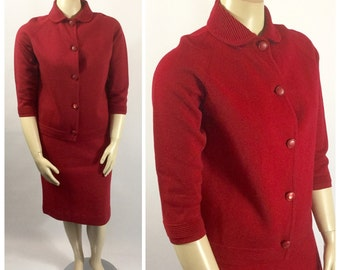 Late 1950s Red Wool Knit Set - Red Sweater Set - Made in Italy - Gina Teresa
