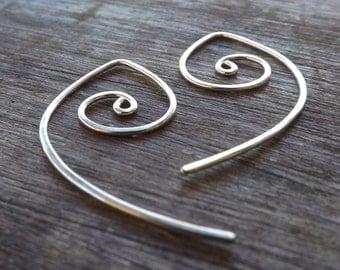 Modern Spiral Earrings. Silver Spiral Earrings. Feminine Spiral Dangles. Handmade. Sterling Silver Jewelry  on Etsy by Mary-anne Fountain