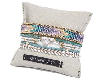 Beadweaving bracelet - beaded multiple strands bracelet set - bohemian jewelry - gypsy jewelry - gypset jewelry - multicolor bracelet