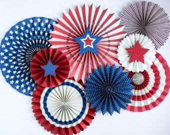 Sale Set 8 RED WHITE & BLUE Paper Fans Pinwheels 4th Fourth of July Striped Dot Hanging Party Stars Stripes Usa America Birthday Picnic Flag