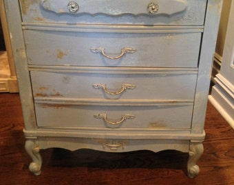 i'm so fancy . french blue grey nightstand . end table . vintage hand painted provincial style . gold leaf .  chalk paint annie sloan