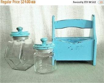 Happy 4th with 40% Off Shabby Beach House Blue Utensil/Napkin Caddy / Napkin Holder / Kitchen Storage and Organization /Outdoor Entertaining