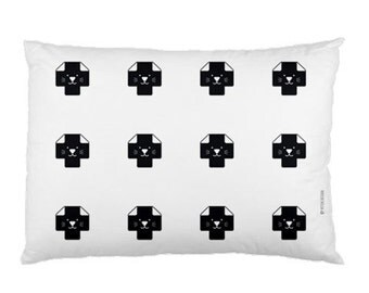 Swiss Cross Pillowcase / Kids Pillow / Kids Decor / Plus Sign Pattern Pillow / Cat Pillow / Modern Children Bedding / Monochrome Nursery