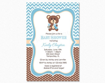 Teddy Bear Baby Shower Invitation, Bear Baby Shower Invitation, Blue, Brown, Personalized, Printable or Printed