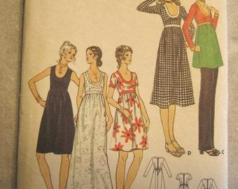Vintage 70s Empire Waist Dress Pattern Contrast Banding Scoop Neck Butterick 6152 Size 10