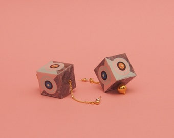 """Geometric Earrings // Marble Earrings // Graphic Earrings // Statement Jewelry // Op Art // Mod Earrings // 60s Inspired // The """"Trance"""""""