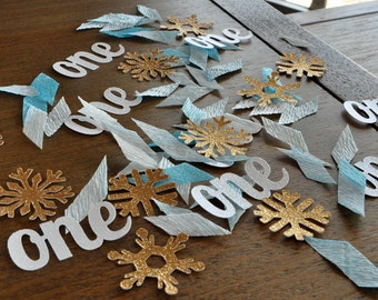 Winter Onederland Party Decorations. Handcrafted in 2-5 Business Days. Baby Blue & Gold Party ...