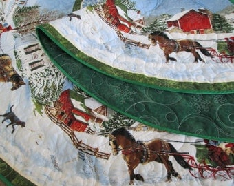 Christmas Tree Skirt, Sleigh Ride, Quilted Christmas Tree Skirt, Horse Drawn Sleigh, Snowflake, Christmas Decoration