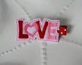 """Pink and Red Heart """"Love"""" Valentine's Day Hair Clip Barrette Bow for Girls"""