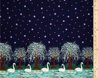 Michael Miller Swan Lake Midnight Fabric - 1 yard