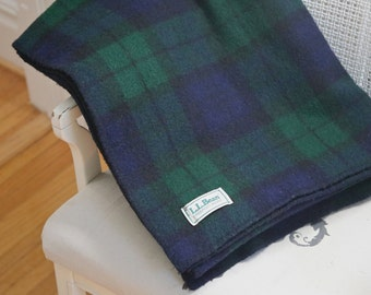 Wool Plaid Blanket L.L. Bean 65 x 88 inches