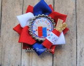 Lil firecracker Ribbon Flower Bow...Red, White and Blue...American...4th of July