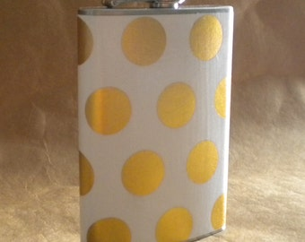 Bridal Party or Sorority Gift White with Gold Polka Dots Bridesmaids or Birthday Gift Stainless Steel Flask 8 Ounce KR2D 7849