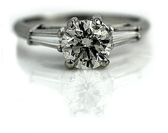 Round Diamond Engagement Ring 1.61ctw Vintage Three Stone Engagement Ring GIA Platinum Brilliant Cut Diamond Engagement Ring 1970's Size 7!