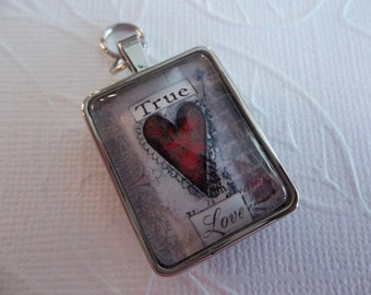True Love Pendant - Two Sided: Valentine Heart and Boy and Girl Kissing - Square Glass & Silver - Artwork by Sally Jean - Qty 1