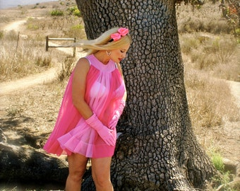 "Extraordinary 1960's Vintage Full Sweep Pink Babydoll by Radcliffe-""Pink"""