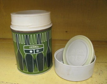 vintage Thermos bottle, small green