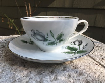 Teacup and Saucer Stonegate Midnight Rose pattern