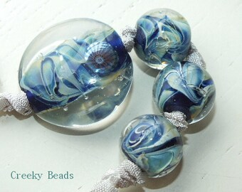 Handmade Lampwork Focal bead - 'Blue' - Creeky Beads SRA